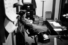 A 1940s secretary grabbing a few quick zzz's on the job. #vintage #office #1940s #secretary