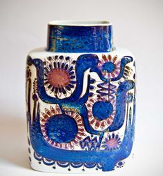 blue vase via Retro Pottery Net Ceramic Clay, Ceramic Pottery, Pottery Art, Royal Copenhagen, Vintage Pottery, Vintage Ceramic, Statues, Mid Century Modern Decor, Pottery Designs