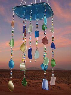 Beach Glass Mobile/ Windchime by mexicobeachgirl on Etsy, $70.00