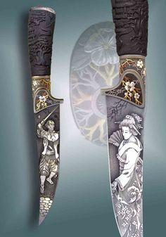 Олег Гущин  Авторские ножи художественное  оружие    золото серебро бриллианты