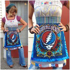 Eco Dress Size S M Tunic A Patchwork Grateful Dead Hippie Crochet Flowers Festival Clothing Bright Colors Zasra