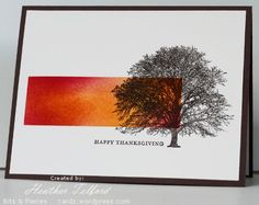 tree --Stamps: Trees (Darkroom Door), With Gratitude, Teeny Tiny Wishes (SU) Inks: Early Espresso, So Saffron, Rose Red, Pumpkin Pie Cardstock: Flourishes Classic Ivory, Chocolate Chip