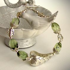 botanical bracelet with rutilated Prehnite and Artisan Fine Silver