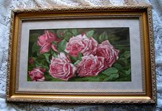 c1894 Antique Pink Cabbage Roses Print Annie Burt Buy now at Victorian Rose Prints on rubylane.com