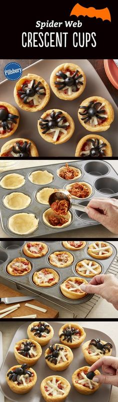 Make these cheesy spider web-topped pizza cups a part of your Halloween dinner or party! They double as the perfect appetizer, or even a kid-friendly dinner. Expert tip: If you can't find mini pepperoni slices, purchase larger ones, and cut them into fourths to fit in the muffin cups.