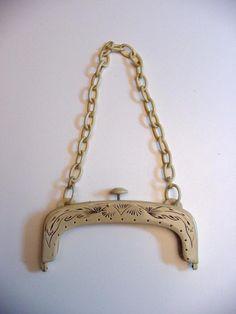 antique celluloid purse frame
