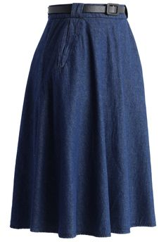Belted Denim Midi Skirt - Skirt - Bottoms - Retro, Indie and Unique Fashion