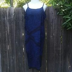 "FINAL REDUCTION BNWOT Blue Sheath Maxi Dress BNWOT Dark Blue Shealth  Maxi Dress With Black Design & Braided Straps Size Large 100% Rayon Soft & Cool For Spring & Summer. Measurements From Pit To Pit 21.5"" Length From Top Of Straps To Bottom 47.5"". Dresses Maxi"