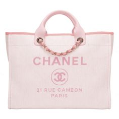 5d58de06fd48 Chanel Large Deauville shopping tote of pink canvas with silver tone  hardware in store fresh condition. Madison Avenue Couture