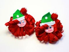 Christmas Hair Bows / Boutique Loopy Puff by LilPinkFashionista, $14.00