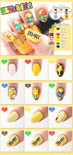 My M&M's Nail Art Tutorial Please visit my blog for the details!! https://nailbees.com/mandm-nail-art #31DC2014 #NailArt #Food #Snack