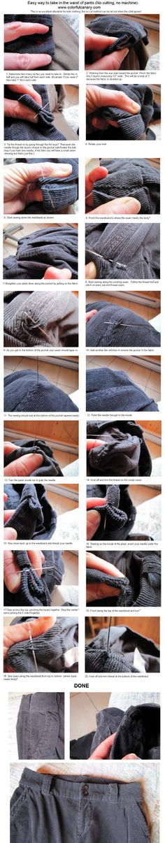 Easy way to take in the waist of pants (No cutting, no machine)...great alteration for kids clothing as the no-cut method can be let out as the child grows