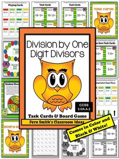 Division by One Digit Divisors Task Cards, Recording Sheet and Board Game - Owl Themed for 3.OA.A.1 #TPT $Paid