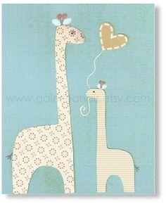 Baby boy nursery kids Room, Baby decor nursery, kids art, kids room decor, boy room, kids Giraffe,  8x10 print from Paris. $14.00, via Etsy.
