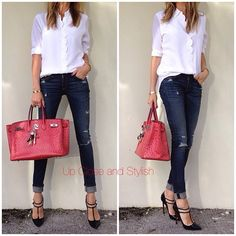 upcloseandstylish Equipment top, Rag jeans and Louboutin V-neck heels. Birkin 35 in Bougainville Office Outfits, Fall Outfits, Fashion Outfits, Womens Fashion, Fashion Trends, Casual Dresses, Casual Outfits, Looks Jeans, Casual Chique