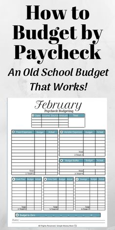 If you are living paycheck to paycheck, this is the budget you need. It's such an easy transition since you will be budgeting each paycheck as it come Budgeting Finances, Budgeting Tips, Smart Methode, Budget Planer, Dave Ramsey, Investing Money, Money Saving Tips, Managing Money, Money Tips