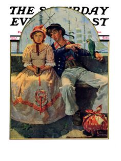 """""""Yarn Spinner"""" Saturday Evening Post Cover, November 8,1930 Giclee Print by Norman Rockwell at Art.com"""