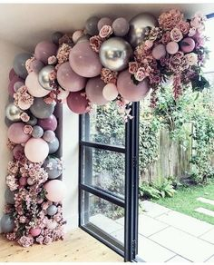 This probably the prettiest balloon garland in 2018 💜💜💜 . Beautiful bal… This probably the prettiest balloon garland in 2018 💜💜💜 . Wedding Balloon Decorations, Birthday Decorations, Wedding Centerpieces, Balloon Wedding, Wedding Decoration, Balloon Arch, Balloon Garland, Mauve Wedding, Wedding Colors