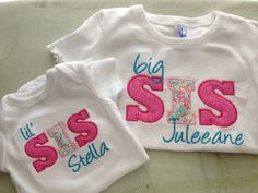 Big / Little Brother Sister Shirts by CharlottesStitch on Etsy Big Brother Little Brother, Little Sisters, Big Sibling Gifts, My Sweet Audrina, Toddler Fashion, Kids Fashion, Matching Sister Outfits, Sister Shirts, New Baby Girls