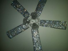 I've seen a diy glitter fan tutorial before (completely impractical.glitter would have been everywhere), but a bedazzled fan is right up my alley! Do It Yourself Furniture, Do It Yourself Home, Cool Ideas, My New Room, My Room, Little Girl Rooms, Little Girls, Glitter Make Up, Silver Glitter