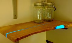 Glowing resin and wood shelf  hmmm....  Want to try this with a more modern shelf