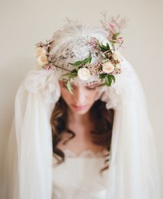 Ornate Veil with Floral Crown