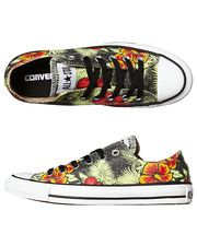 CONVERSE WOMENS CHUCK TAYLOR HAWAIIAN HIBISCUS SHOE - BLACK on http://www.surfstitch.com