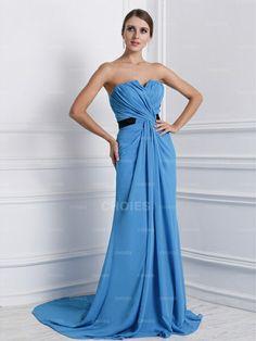 638dc83ec824 Nice A-Line Princess Strapless Sleeveless Sweep Brush Train Ruffles Chiffon Evening  Dresses