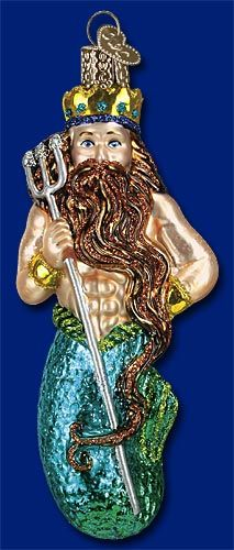 KING NEPTUNE blown glass ornament i ABSOLUTELY NEED this ornament, i have a serious weakness for unusual and unique Christmas ornaments. nautical home and holiday decorations. i love mermaids on Christmas Trees, so King Neptune s pretty friggin awesome ****Sea Themed Ornaments and Home Decor
