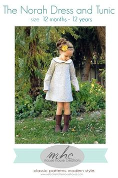 Mouse House Creations presents The Norah Dress and Tunic PDF sewing pattern, an adorable vintage inspired design. This extremely versatile pattern is size 12 months to 12 years and features lots of options, including a unique peter pan collar and faux ties. You can make it dress length or tunic length, sleeveless or long sleeves/ …