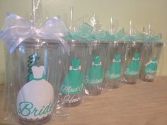 Personalized acrylic tumbler 16oz w/ lid and straw - Bridesmaid, bride, Flower girl dress, name or monogram, Bridal party gift on Etsy, $12.00