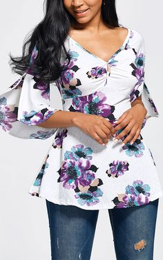 top outfits:High Waisted Floral Peplum Top