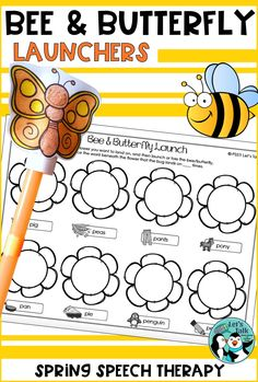 Bee / Butterfly paper rockets to launch in speech therapy! Print & Go activity great for bug/insect theme!