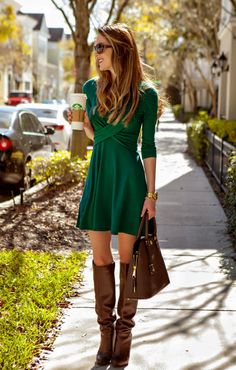 Diary of a Debutante: Preemptively Pinch Proof: Double Cross Green Dress + The Mint Julep Giveaway - Total Street Style Looks And Fashion Outfit Ideas Mini Dress With Sleeves, Dress With Boots, The Dress, Outfits With Boots, Winter Dresses With Boots, Green Dress Outfit, Dress Outfits, Sweater Dresses, Green T Shirt Dress