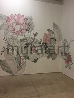 Wall Painting Decor, Mural Wall Art, Stencil Painting, Flower Mural, Flower Art, Wall Art Designs, Wall Design, Doodle Wall, Small Canvas Art