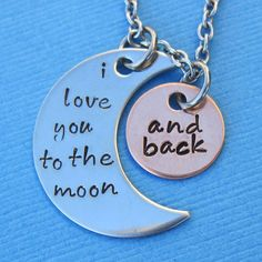 "Last week I made several of these ""I Love You to the Moon and Back"" necklaces for customers ordering Mother's Day gifts. Now I'm making several of them as key chains for customers ordering for Father's Day gifts. Made of all stainless steel and one copper disc."