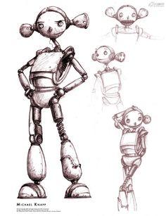 Piper concept sketches for the Movie Robots[《机器人总动员》风笛手概念设计图]