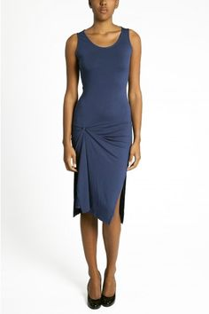 Yasmine in Blue by E-Label. Comfort meets style in this great new indigo-blue midi dress by E-Label! #Fashion #Style