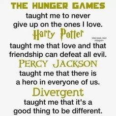 Hunger Games, Harry Potter, Percy Jackson, and Divergent