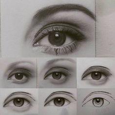 Realistic Drawings Drawing eye step by step by artist saeiddasdar Eye Pencil Drawing, Pencil Drawings Of Animals, Realistic Eye Drawing, Drawing Eyes, Cool Art Drawings, Art Drawings Sketches, How To Draw Realistic, Eye Drawing Tutorials, Drawing Techniques