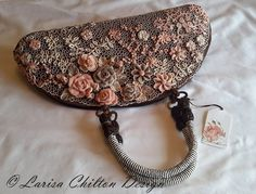 "Purse ""Rose Garden"".100% handmade.  100% Cotton. Made to order. Crochet, Irish Crochet Lace."