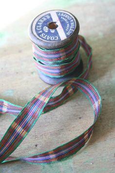 Taffeta Tartan Ribbon -  3 yards - Purple/Green/Red. $4.25, via Etsy.