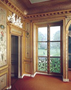 Hand painted details: One of Marie Antoinette's rooms at Fontainebleu, palace with excellent hunting grounds, a favorite of Louis XVI. She finished redecorating this room only three years before she was executed.
