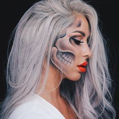 "The Chrisspy Halloween Look to die for ""Every day is Halloween, isn't it? For some of us."" Used Mehron Paradise AQ for the skull #mehronmakeup #ParadiseMakeupAQ"