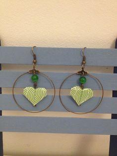 """Boucles d'oreilles """"coeur"""" origami vertes dans une créole : Boucles d'oreille par isa-bo"""