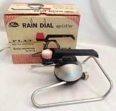 Vintage-1960s-Gates-Rain-Dial-Lawn-Sprinkler-Model-R-With-Box-Atomic-Age Garden Sprinklers, Atomic Age, Lawn And Garden, Irrigation, Gates, 1960s, Rain, Box, Model