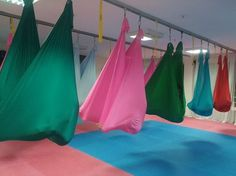 Aerial pilates-yoga, full of colours