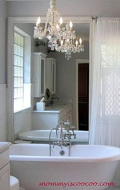 Glamorous Mirror Makeover (made from old builder mirror over sink) Design Websites, Large Bathrooms, Small Bathroom, Ikea Bathroom, Boho Bathroom, Master Bathrooms, Family Bathroom, Bathroom Cabinets, Bathroom Mirror Redo