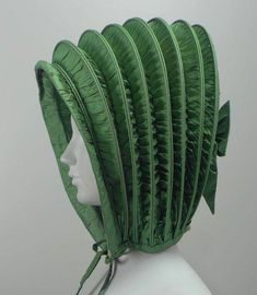A green silk calash, C. Silk, cane, and silk ribbon Collection MFA Boston Historical Costume, Historical Clothing, Bonnet Hat, Gibson Girl, Period Costumes, Antique Clothing, Dress Hats, Green Silk, Museum Of Fine Arts