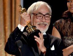 Hayao Miyazaki accepting his honorary Oscar